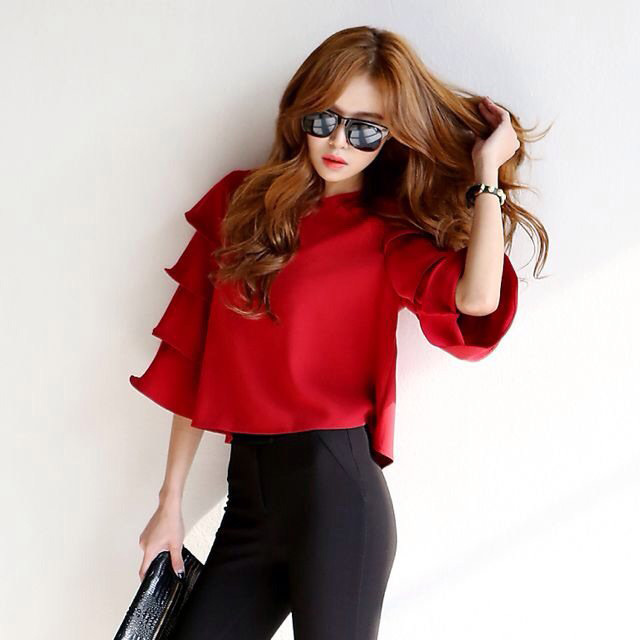 Round Neck Chiffon Blouse with Layered Flounce Sleeves